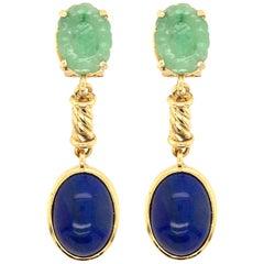 Pair of Gold, Jade and Lapis Lazuli Earrings