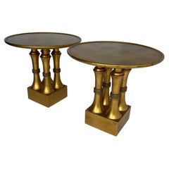 Pair of Gold Leaf and Red Lacquer Side Tables, Hollywood Regency
