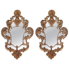 Pair of Giltwood Mirrors with a Shell Motif at Top, 20th Century