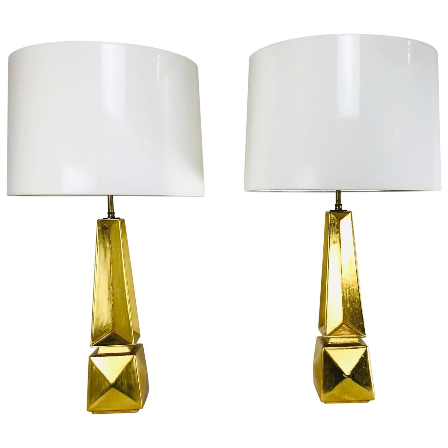 Pair of Gold Leaf Obelisk Table Lamps