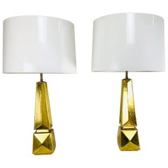 Pair of Gold Leaf Obelisk Table Lamps