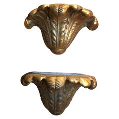 Pair of Gold Leaf Plaster Wall Sconces, Mid-20th Century