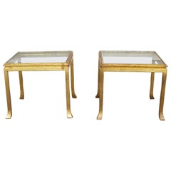 Pair of Gold Leaf Solid Steel End Tables by Maison Ramsay, France, 1970s