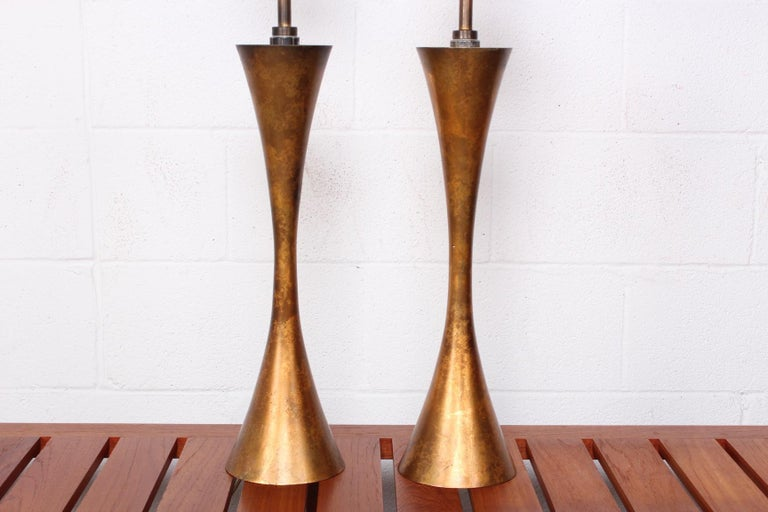 Pair of Gold Leaf Table Lamps by Stewart Ross James for Hansen For Sale 1