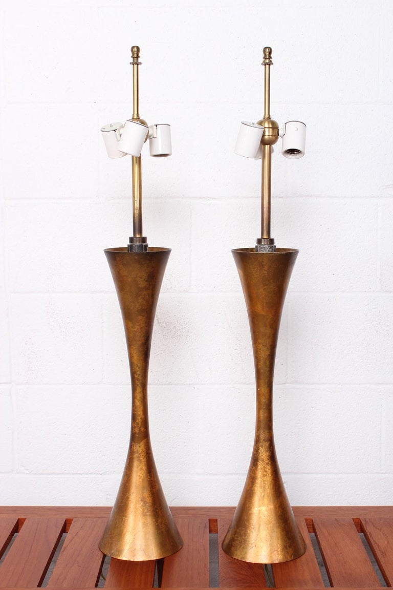 Pair of Gold Leaf Table Lamps by Stewart Ross James for Hansen For Sale 2