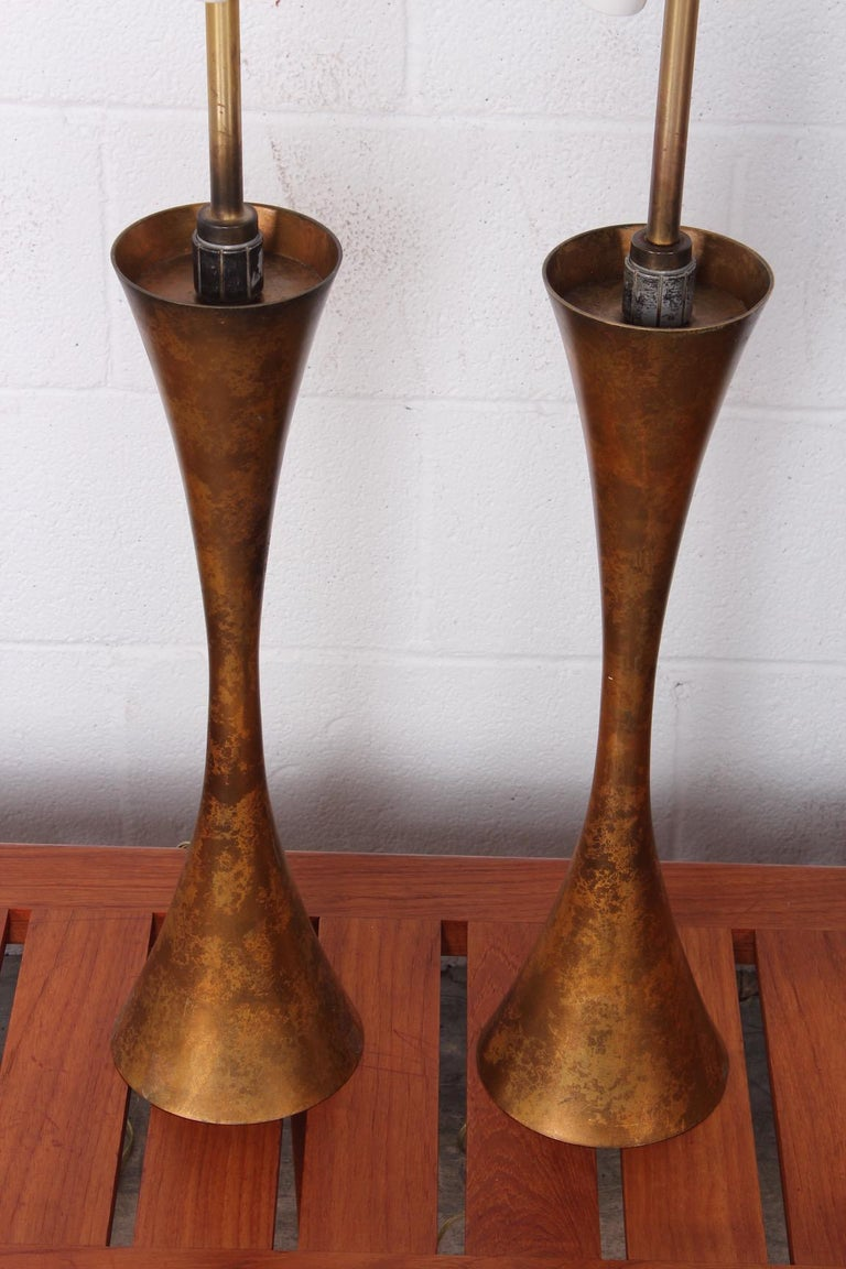 Pair of Gold Leaf Table Lamps by Stewart Ross James for Hansen For Sale 5