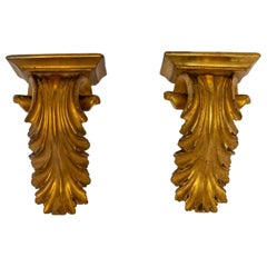 Pair of Gold Leaf Wall Brackets