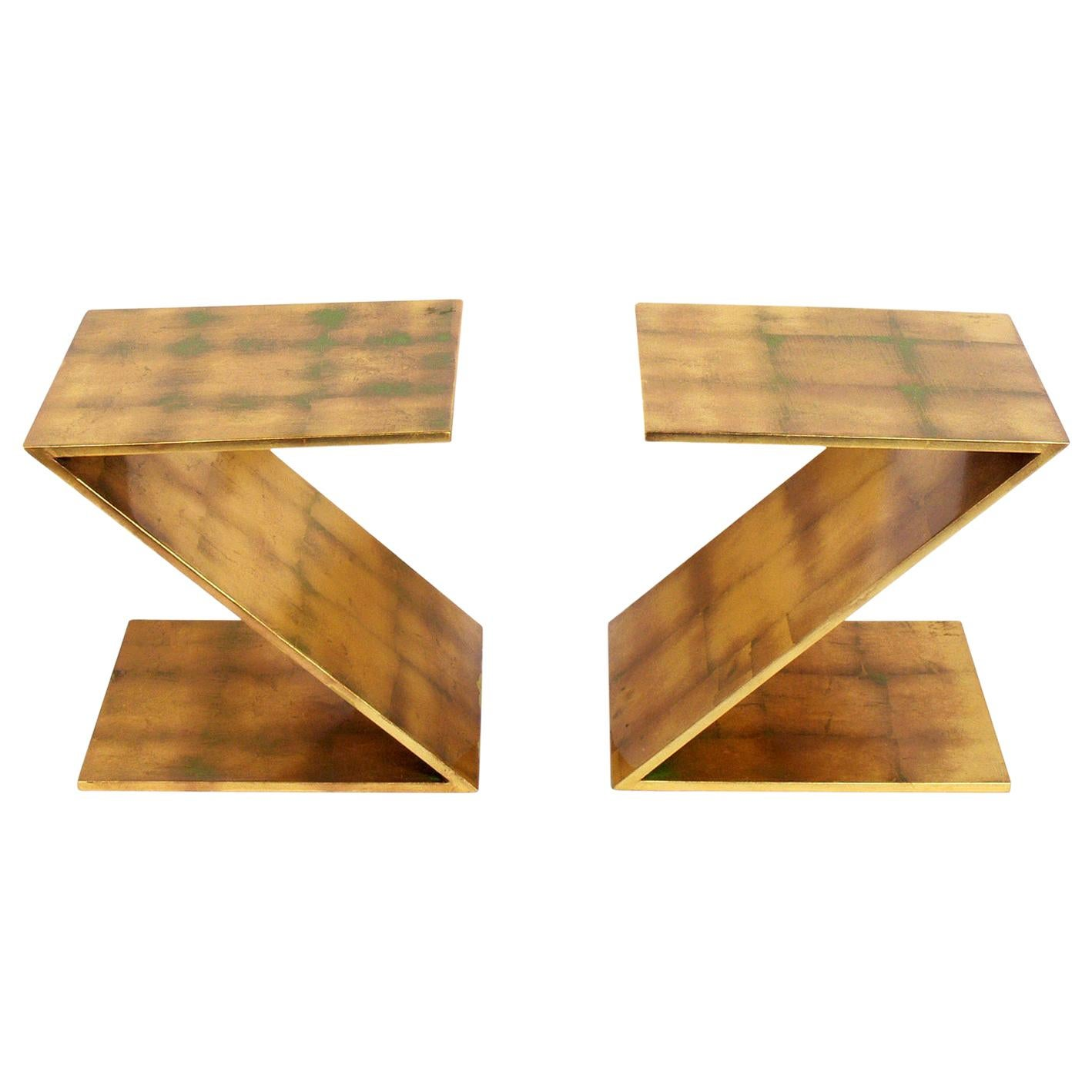 "Pair of Gold Leaf ""Z"" Tables"