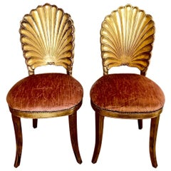 Pair of Gold Leafed Venetian Grotto Chairs, circa 1950