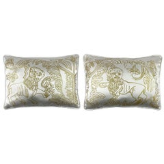 Pair of Gold Lion Motif Silk Wool Throw Pillows in Off-White