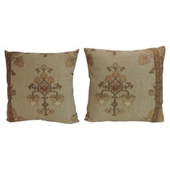 Pair of Gold Metallic Threads Embroidered Turkish Decorative Pillows