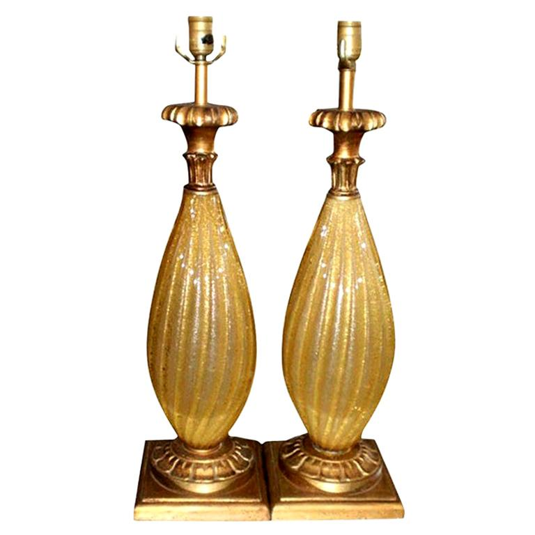Pair of Gold Murano Glass Lamps-Barovier Style