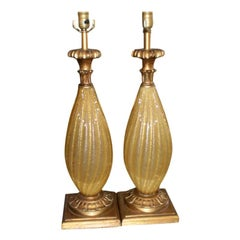 Pair of Gold Murano Glass Lamps