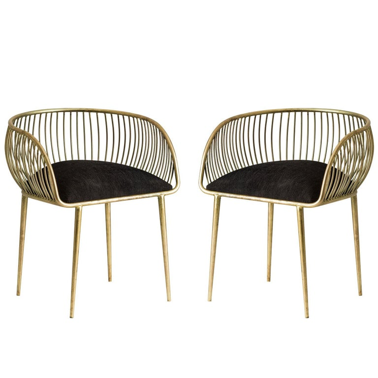 Pair Of Gold Patina Metal Structure and Black Fabric Armchairs For Sale