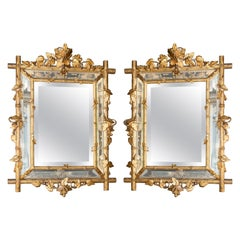 Pair of Gold Patinated Wood Mirrors, England, Late 19th Century