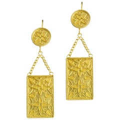 Pair of Gold Plaque Earrings by Akelo