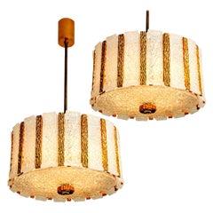 Pair of Gold-Plated Bronze Drum Light Fixtures, 1960s, Austria