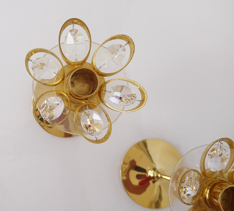 Scandinavian Modern Gold-Plated Candleholder by Lövsjö, Sweden, Set of 2 For Sale
