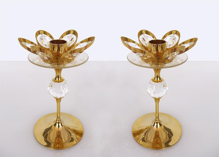 Gold-Plated Candleholder by Lövsjö, Sweden, Set of 2 In Good Condition For Sale In Niederdorfelden, Hessen