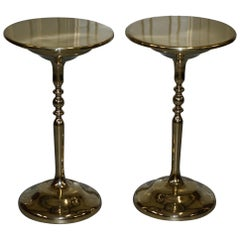 Pair of Gold-Plated Vintage Side Tables on Solid Oak Bases Part of Large Suite