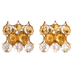 1960 Germany Palwa Pair of Wall Sconces Crystal Glass & Gilt Brass