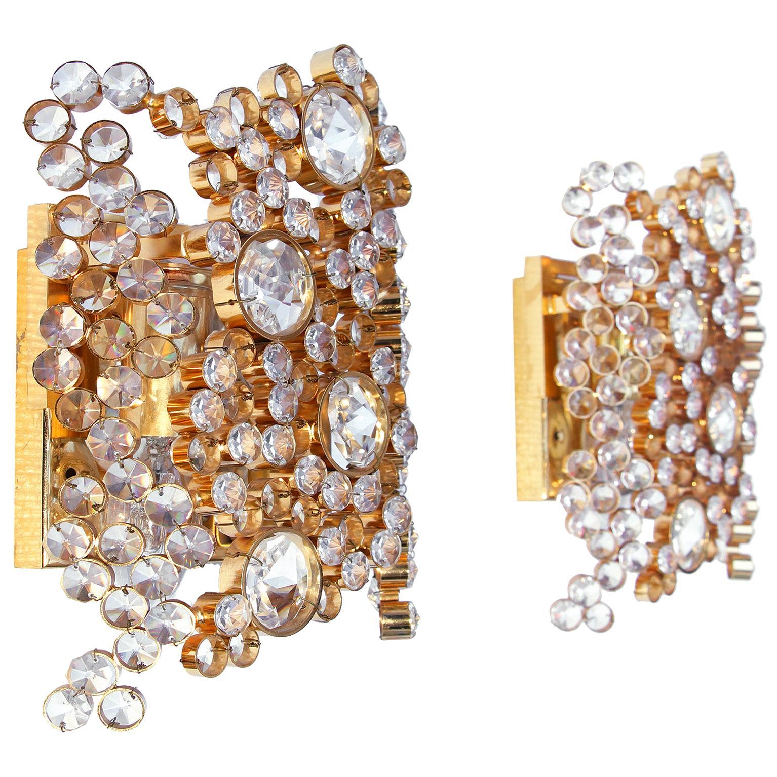 1970 Germany Palwa Bubble Wall Sconces Swarovski Crystal @ Gilt Brass