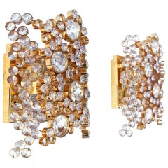 1970 Germany Palwa Bubble Wall Sconces Swarovski Crystal @ Gilt Brass