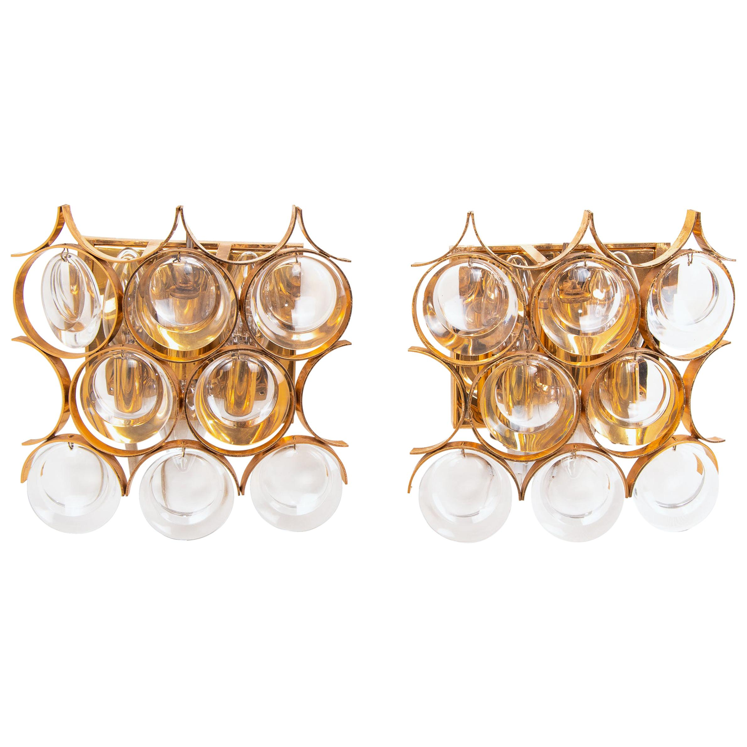Pair of Palwa Wall Sconces Gold-Plated  Brass & Crystal Glass, 1960s