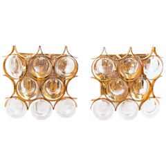Pair of Palwa Wall Sconces Gold-Plated with Crystal Glass 1960s