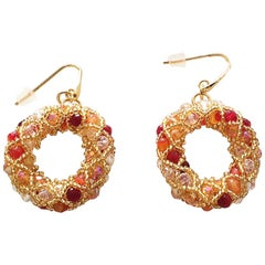 Pair of gold & red hues Murano glassbeads hand made earrings by artist Paola B.