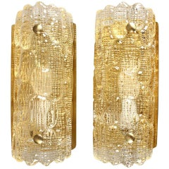 Pair of Gold Textured Glass Wall Sconces by Orrefors