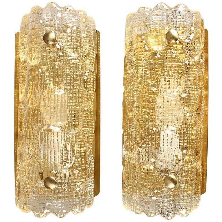 Pair of Gold Textured Glass Wall Sconces by Orrefors For Sale