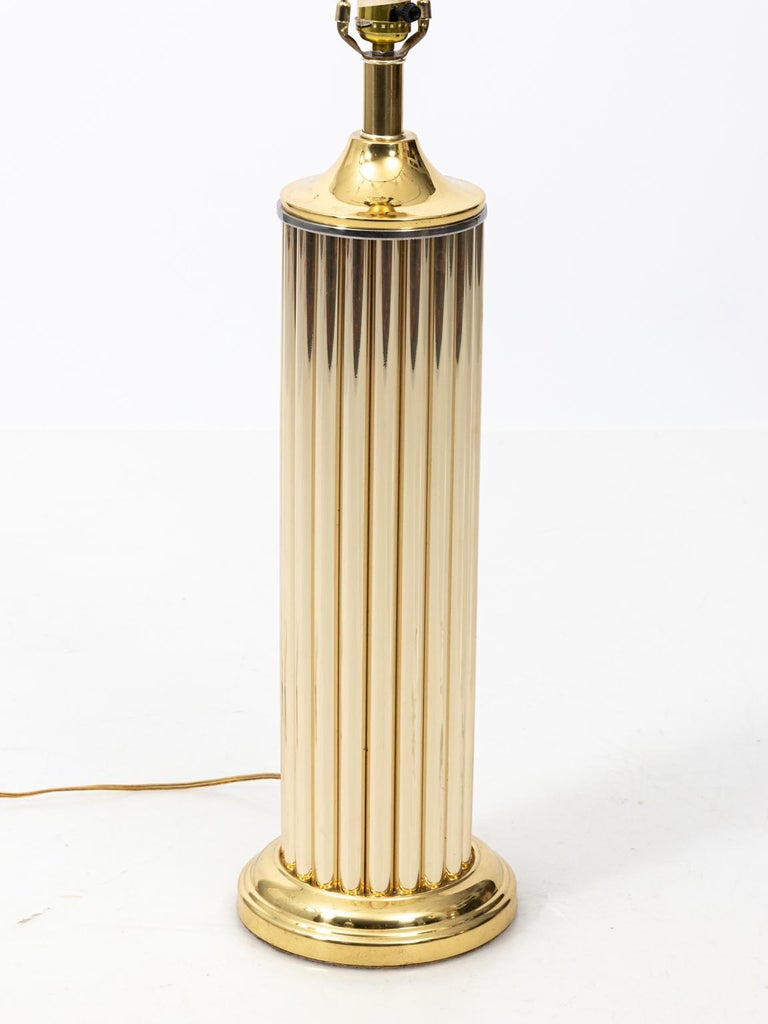 Pair of Gold Tone Fluted Lamps For Sale 4