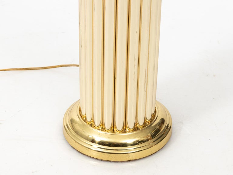 Pair of Gold Tone Fluted Lamps For Sale 5