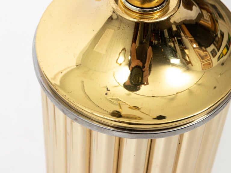 Pair of Gold Tone Fluted Lamps For Sale 7