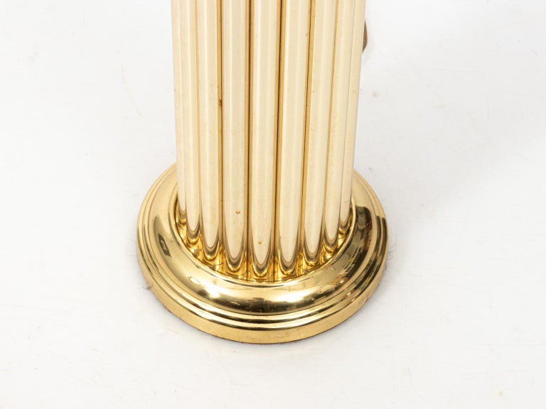 20th Century Pair of Gold Tone Fluted Lamps For Sale
