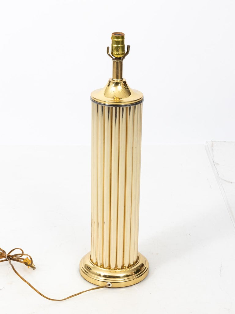 Pair of Gold Tone Fluted Lamps For Sale 1