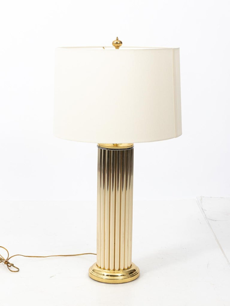 Pair of Gold Tone Fluted Lamps For Sale 2