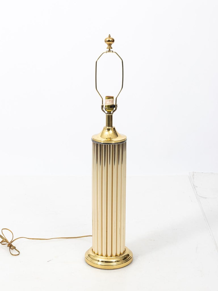 Pair of Gold Tone Fluted Lamps For Sale 3