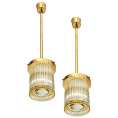 Pair of Gold Toned Ribbed Glass Lanterns