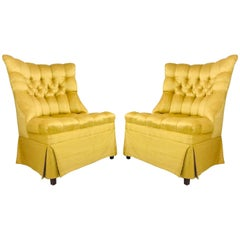 Pair of Gold Tufted Hollywood Regency Chairs