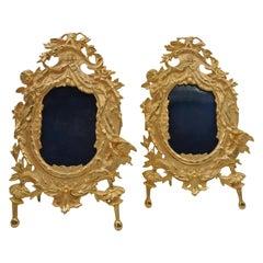 Pair of Golden Bronze Photo Frames
