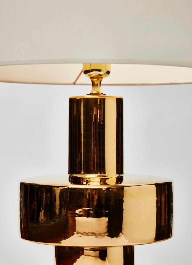 Italian Pair of Golden Ceramic Lamps For Sale
