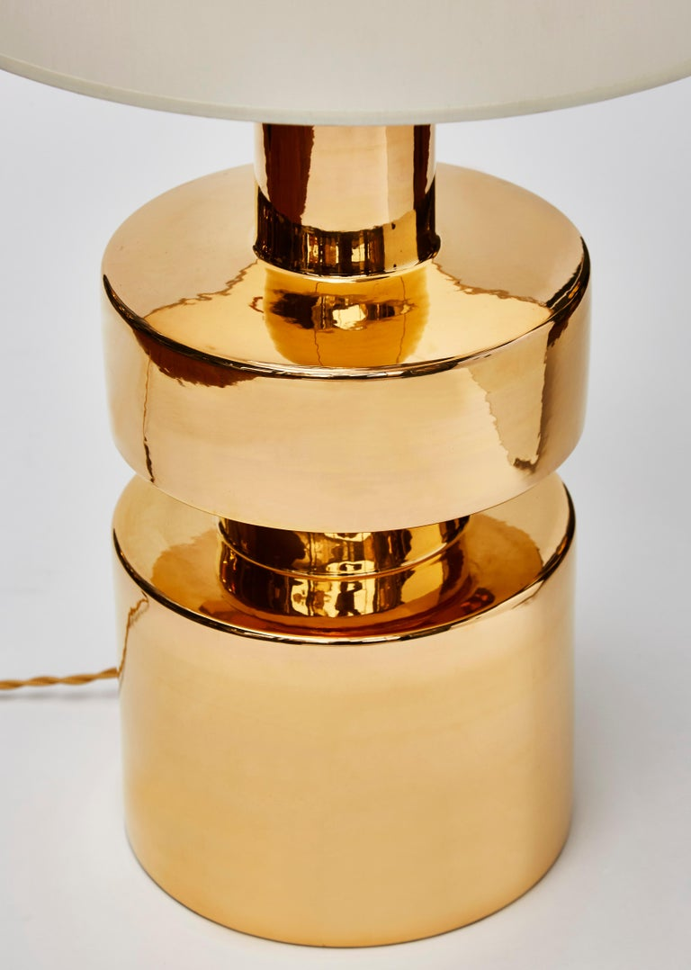 Glazed Pair of Golden Ceramic Lamps For Sale