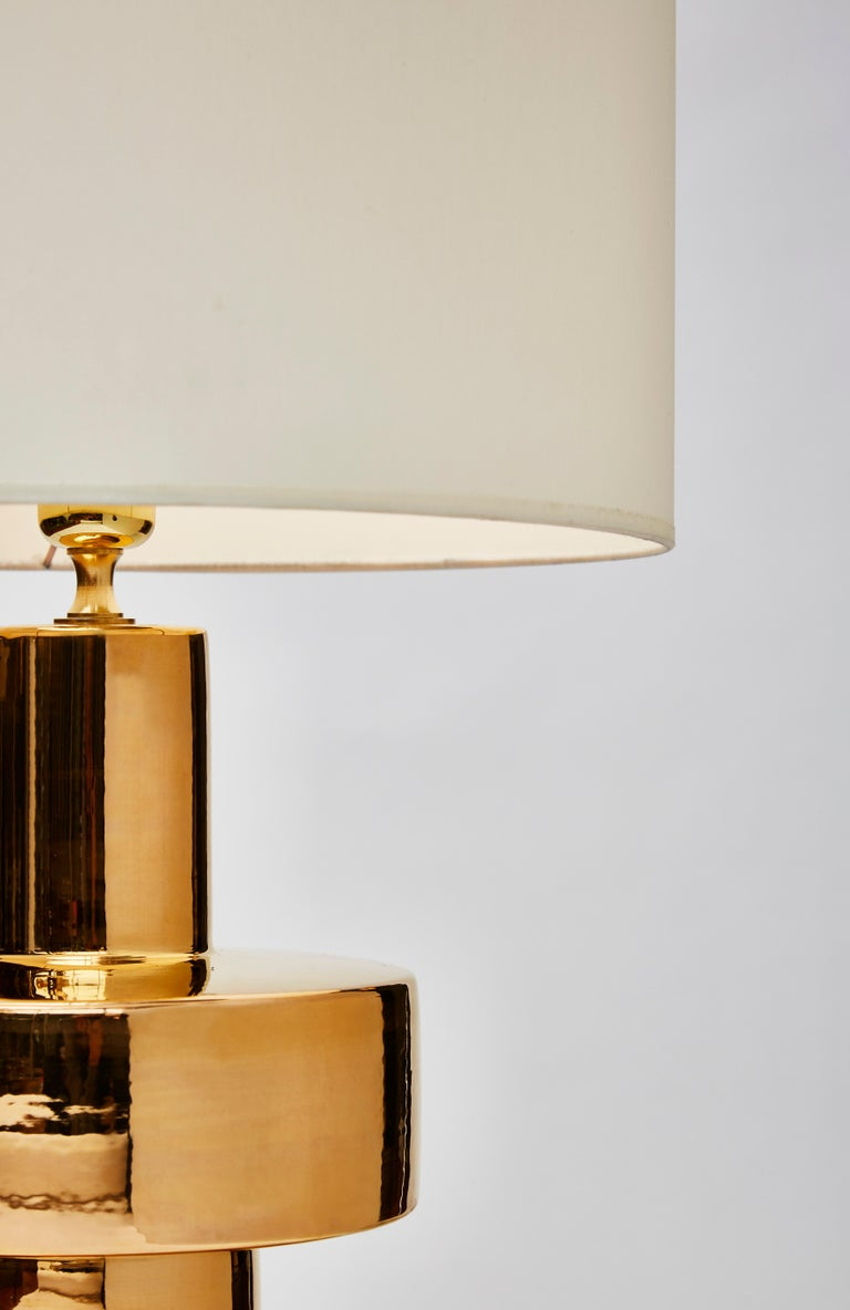 Pair of Golden Ceramic Lamps In Excellent Condition For Sale In Saint-Ouen, IDF