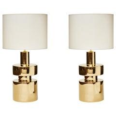 Pair of Golden Ceramic Lamps