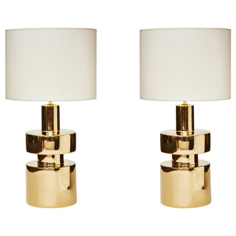 Pair of Golden Ceramic Lamps For Sale