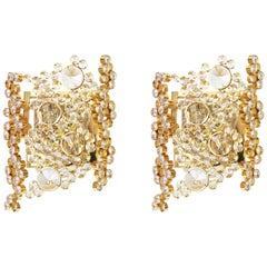 Pair of Golden Gilded Brass and Crystal Sconce by Palwa, Germany, 1960s