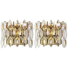 Pair of Golden Gilded Brass and Crystal Sconces by Palwa, Germany, 1970s