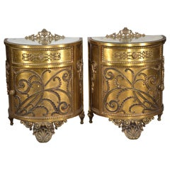 Pair of Golden Metal Bedside Tables or Bedside Stands, 19th Century